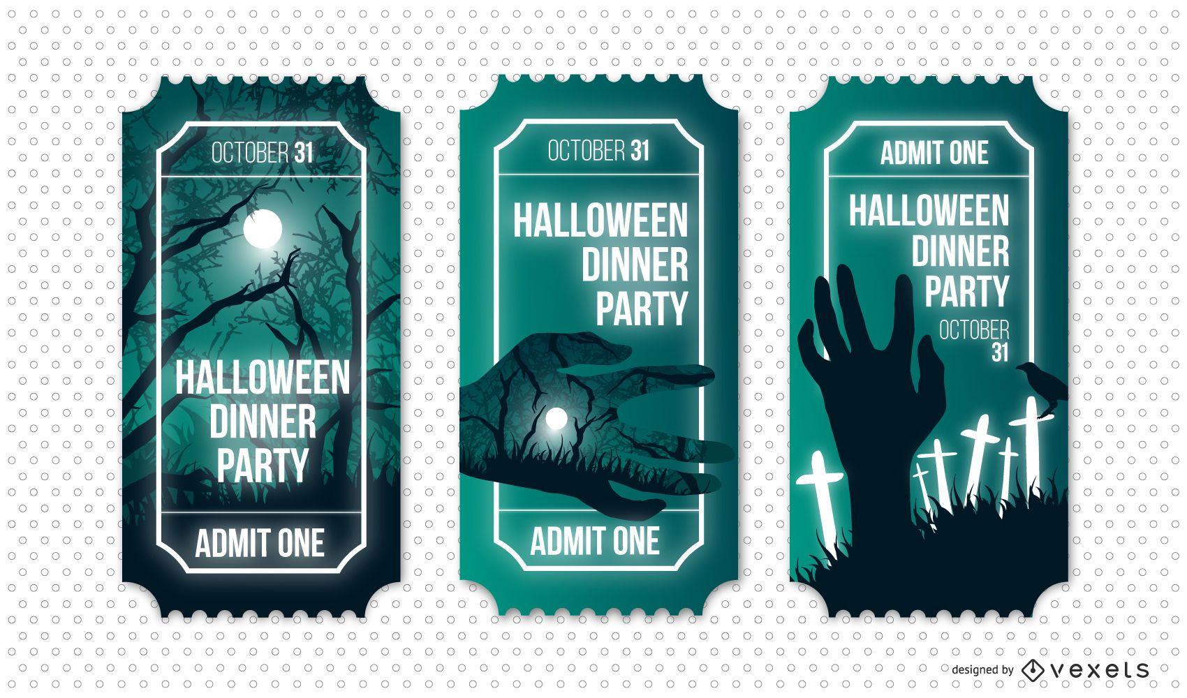 Halloween dinner party ticket set
