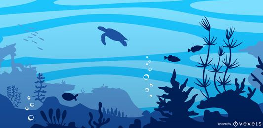Underwater flat landscape illustration