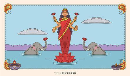 Ilustración en color de Diwali Lakshmi