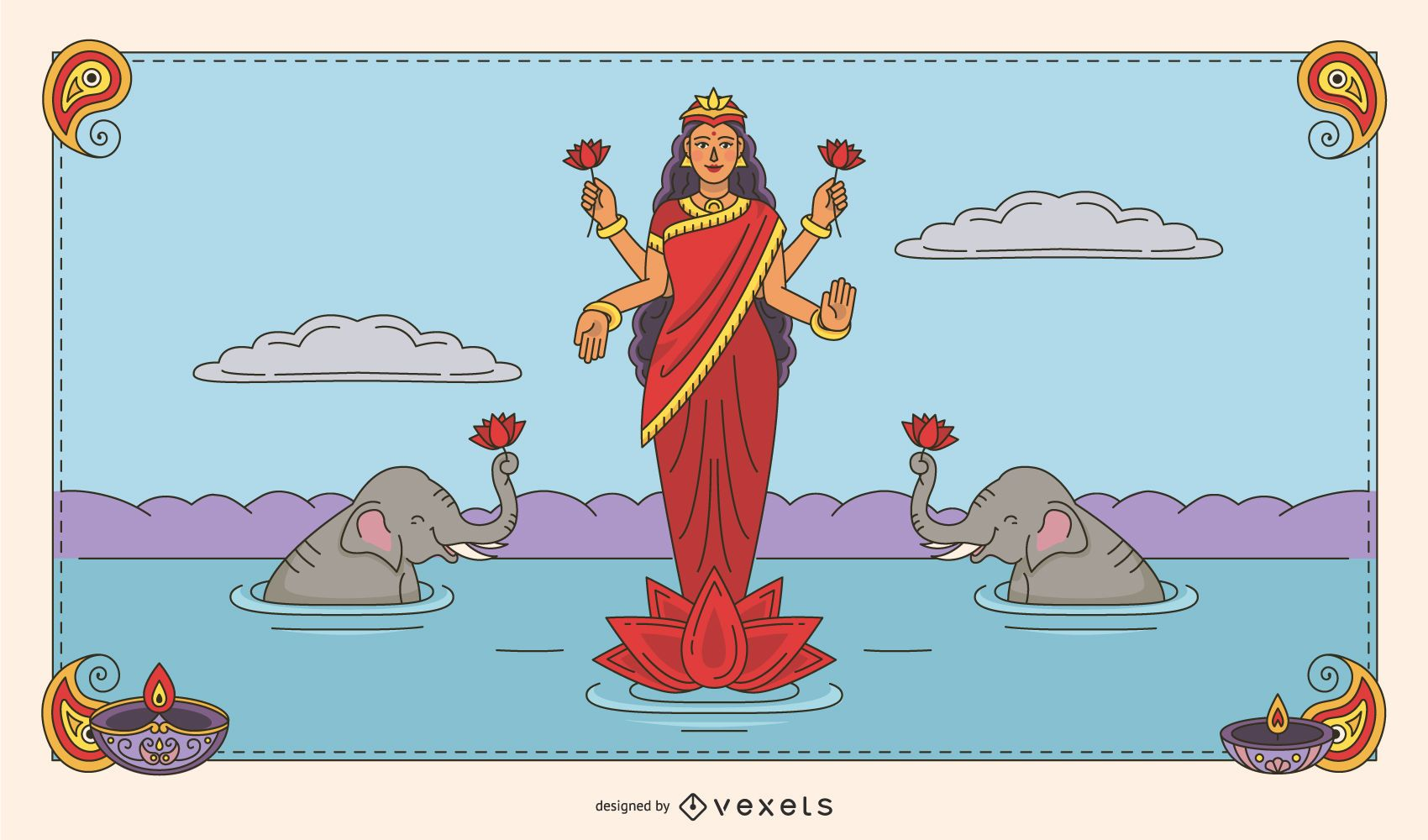 Diwali Lakshmi color illustration