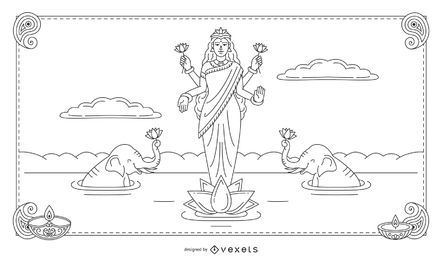 Diwali Lakshmi line illustration