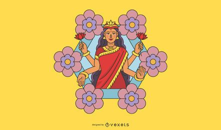 Diwali Lakshmi flowers illustration