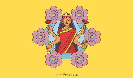 Diwali Lakshmi flowers illustration