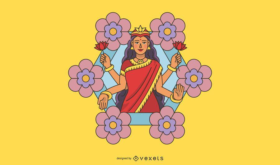 Ilustración de flores de Diwali Lakshmi
