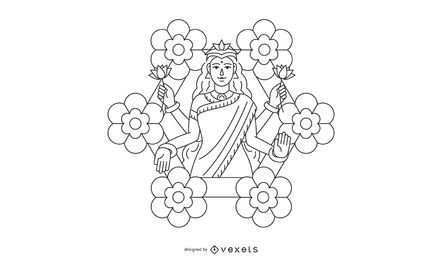 Line Diwali Lakshmi flowers illustration