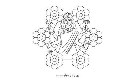 Line Diwali Lakshmi flowers illustration