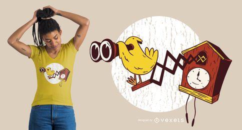 Diseño de camiseta de binoculares con reloj de cuco