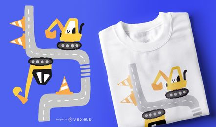 Street Excavator Cartoon T-shirt Design
