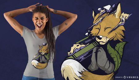 Diseño de camiseta de zorro meditando