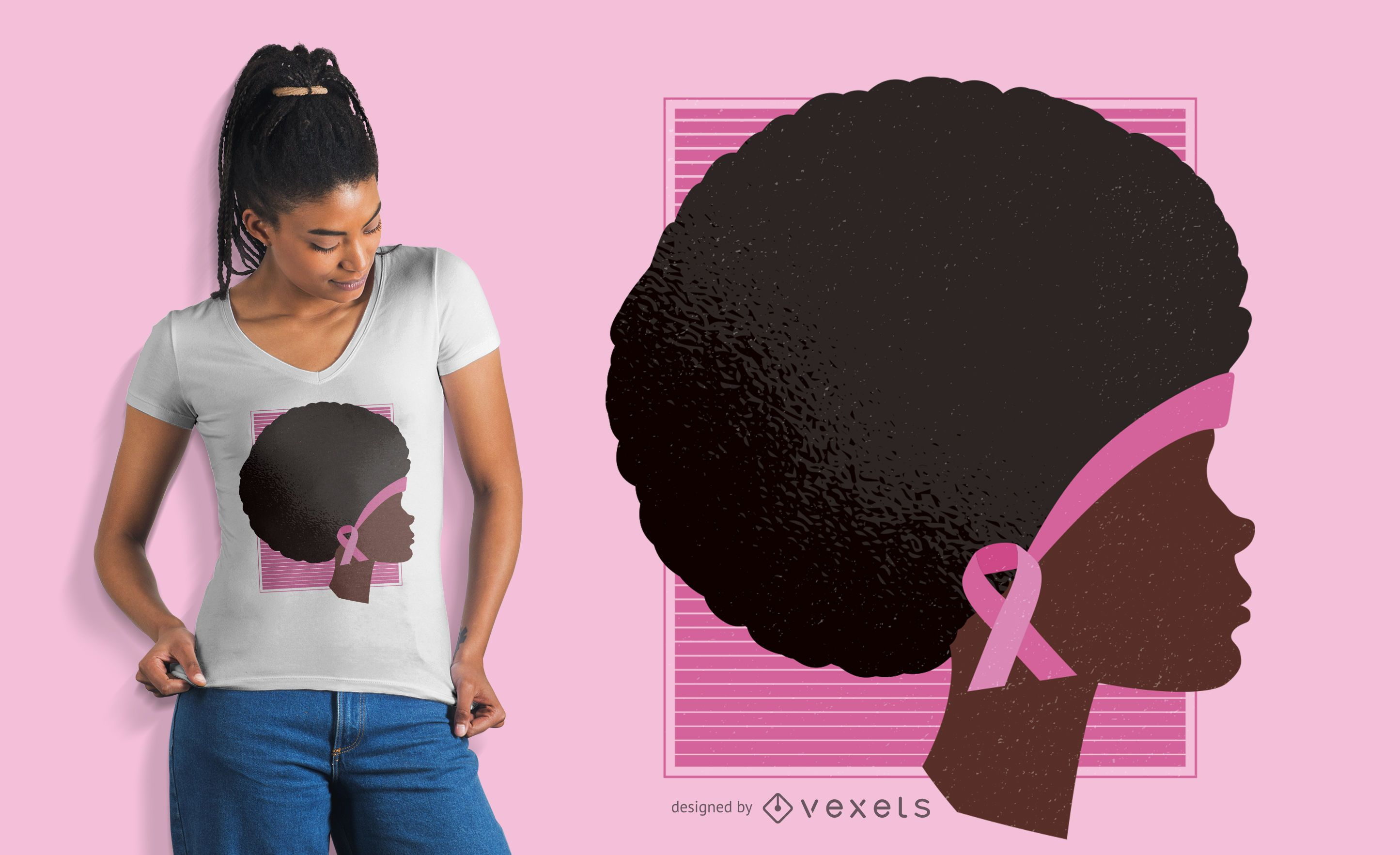 Diseño de camiseta Afro Breast Cancer Awareness
