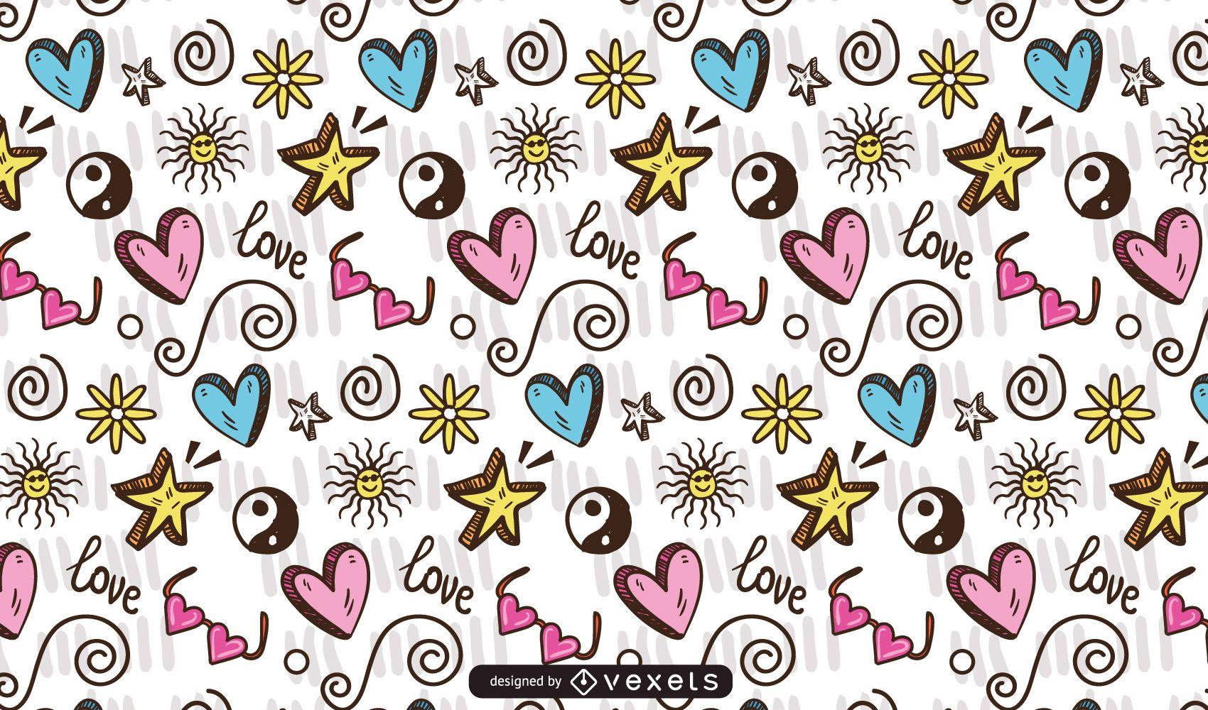 Diseño de patrón de elemento adolescente Doodle