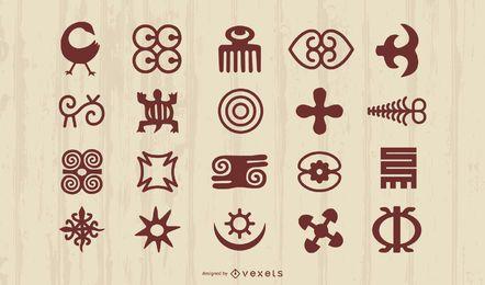 Adinkra afrikanische Symbole Silhouette Set