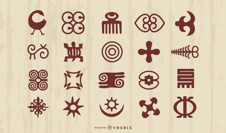 Conjunto de silhueta de símbolos africanos de Adinkra