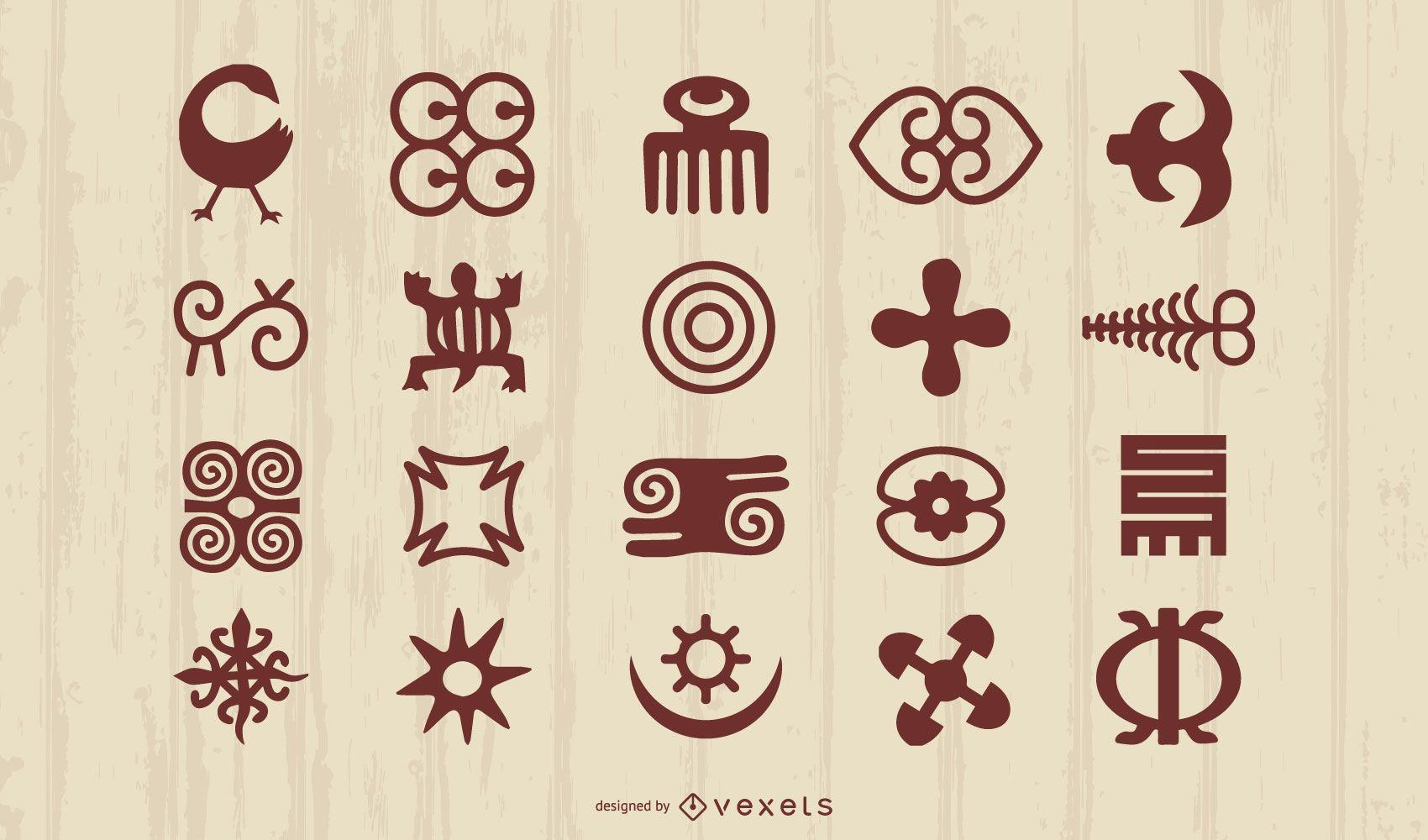 Conjunto de silueta de símbolos africanos Adinkra