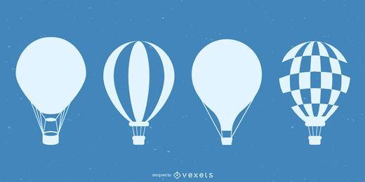 Conjunto de silhueta de balão de ar quente