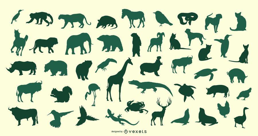 Conjunto de vectores de silueta animal