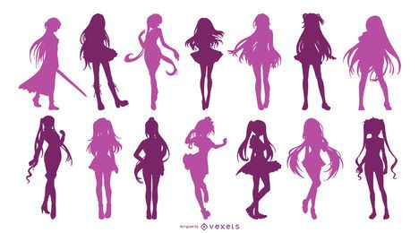 Anime Girl Silhouette Set