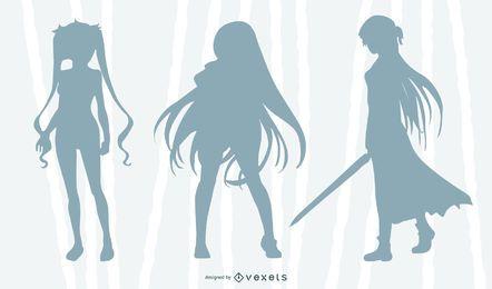 Conjunto de silhueta de menina de anime