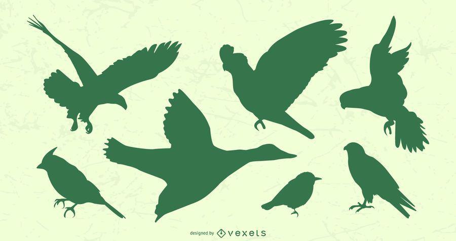 Flying Birds Silhouette Set