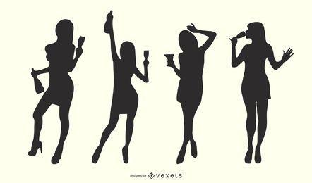 Conjunto de silueta de chicas cóctel