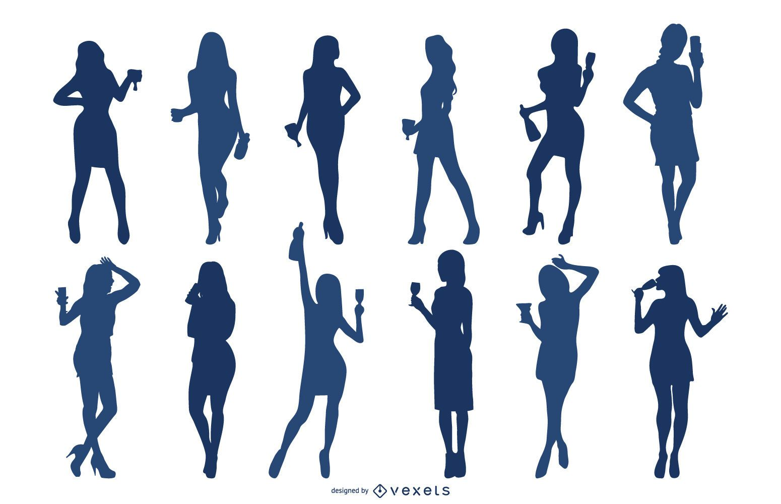 Cocktail Girls Silhouette Set