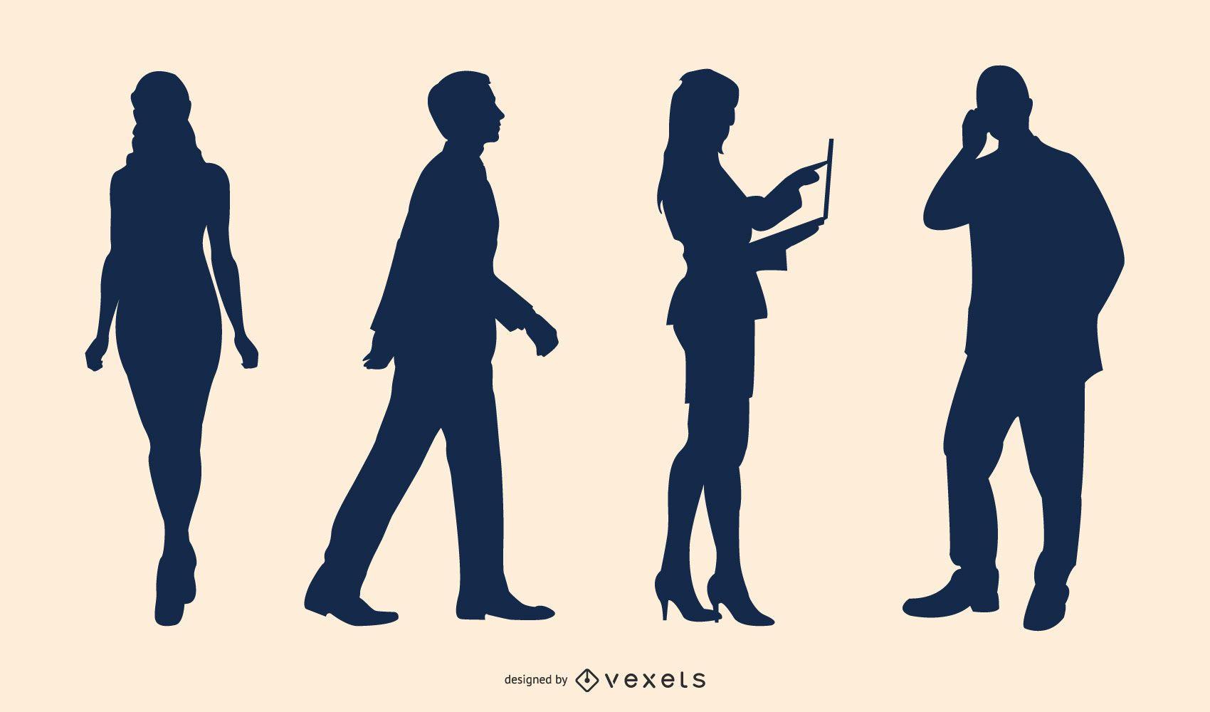 Conjunto de vectores de silueta de personas de negocios