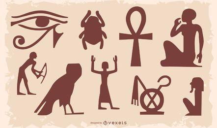 Conjunto de silueta de símbolo egipcio