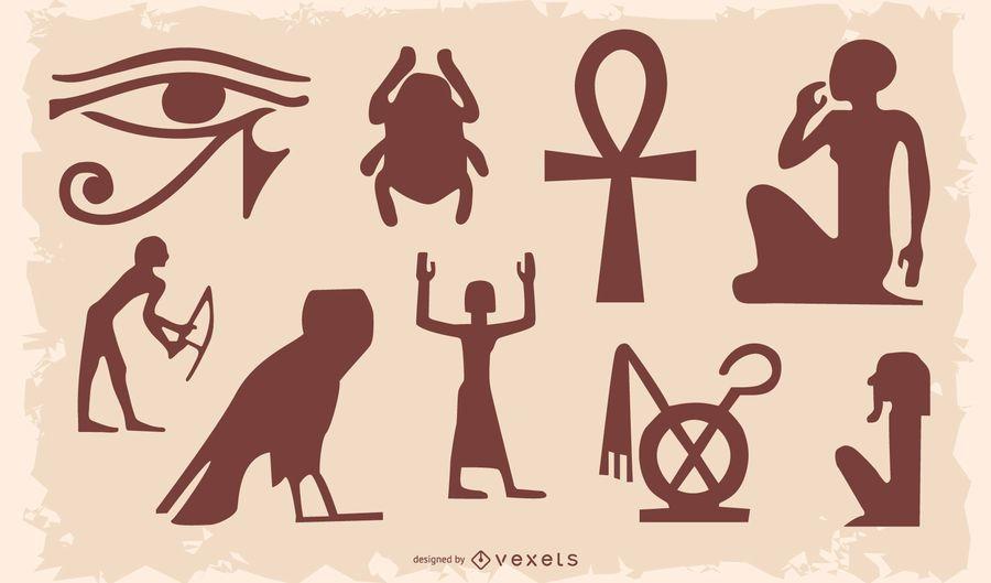 Conjunto de silhueta de símbolo egípcio