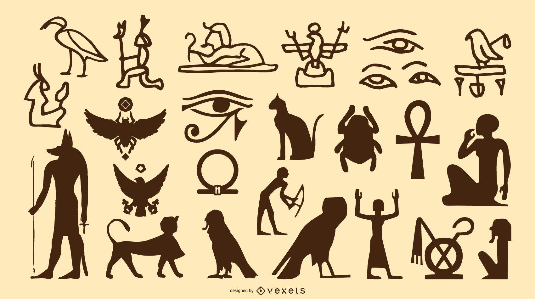 Egyptian Symbol Silhouette Set
