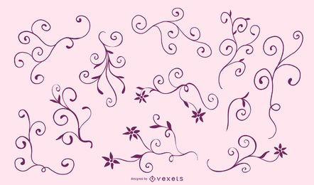 Conjunto de silhueta Floral elegante Frame