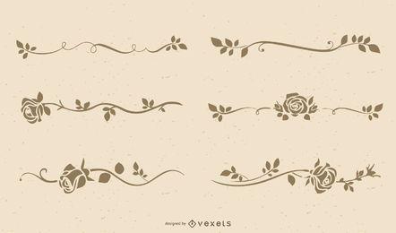 Conjunto de silueta elegante marco floral