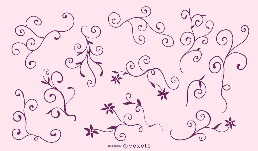 Elegant Floral Frame Silhouette Set