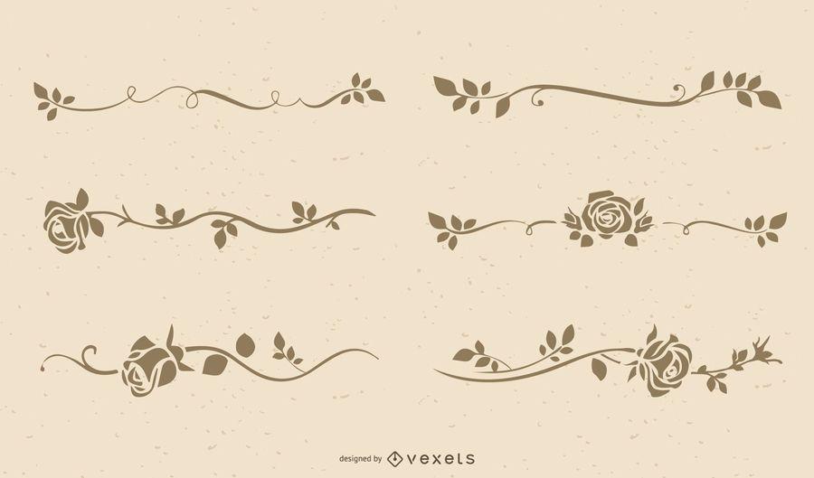 Elegantes Blumenfeld-Schattenbild-Set