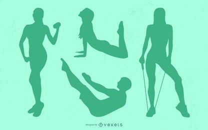 Conjunto de silueta de poses de fitness