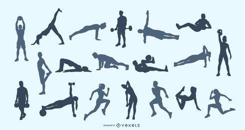 Fitness stellt Silhouette Set