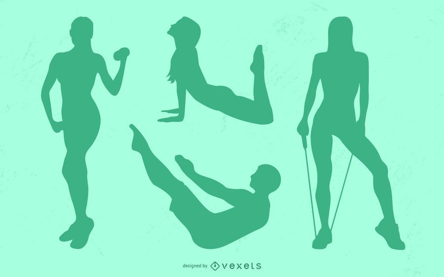 Fitness Poses Silhouette Set