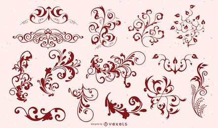Conjunto de silhueta de ornamento floral