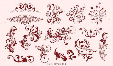 Conjunto de silueta de adorno floral