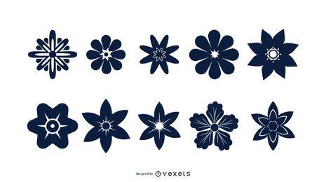 Conjunto de silueta de flor azul