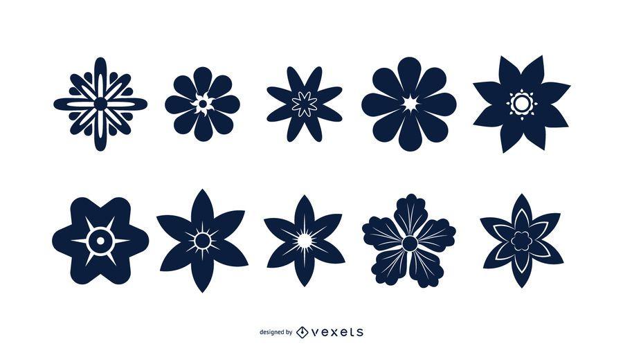 Conjunto de silhueta flor azul
