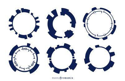 Conjunto de silhueta futurista de círculos