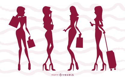 Conjunto de silueta de chicas glamour