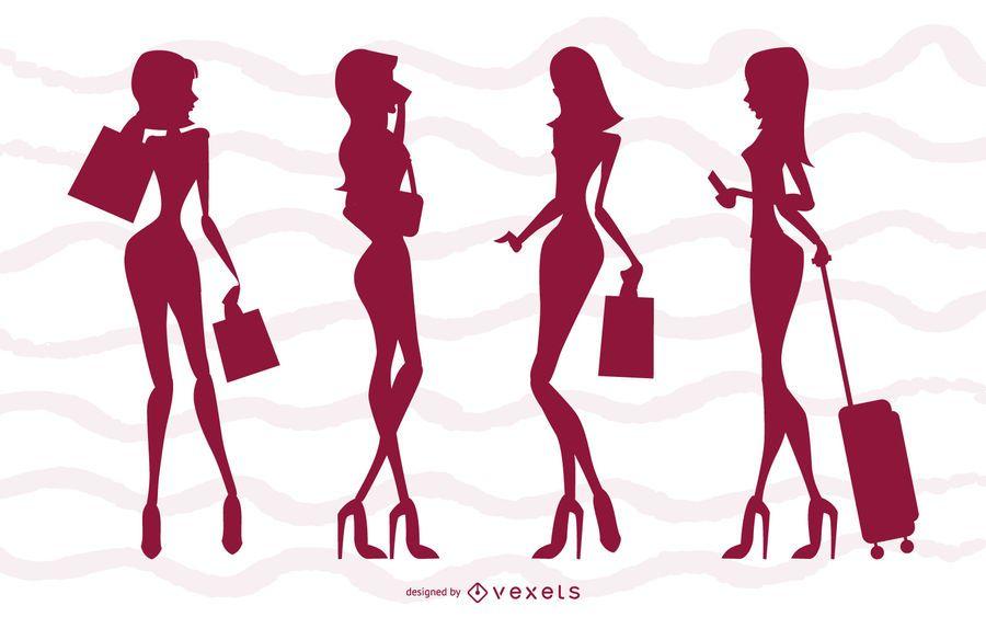 Conjunto de silhueta de meninas de glamour