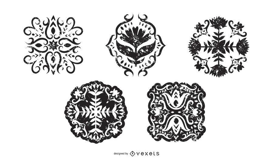Conjunto de silueta floral Grunge