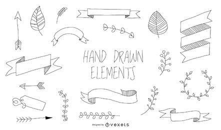 Conjunto de elementos de mão desenhada