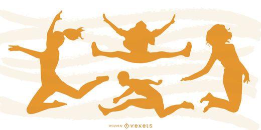 Design de silhueta de pessoas pulando