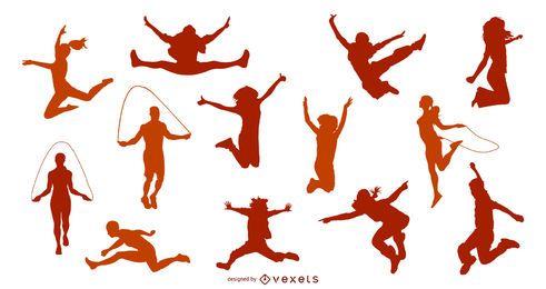 Diseño de silueta de personas saltando