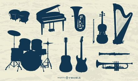 Musical Instruments Silhouette Collection