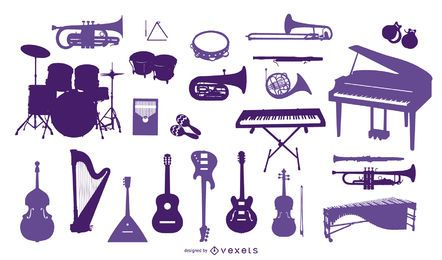 Coleção de silhuetas de instrumentos musicais