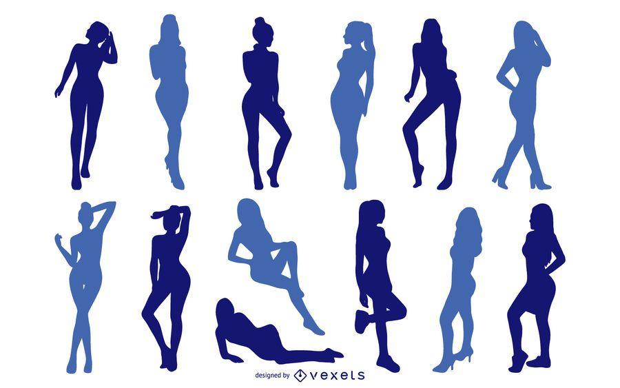 Conjunto de silhueta de meninas sexy